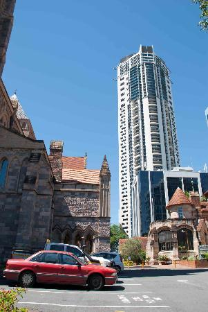 St. John's Anglican Cathedral: The old cathedral contrasts with Brisbane's modern skyscrapers