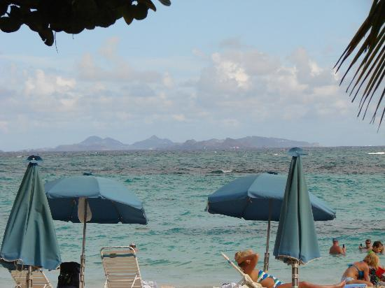 Mr. Busby's Beach Bar: St. Barths in the distance, from the bar.
