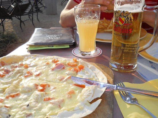 Fiesta: Pflammkuchen..local specialty, great with beer or wine.