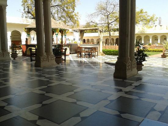 The Raj Palace Grand Heritage Hotel: View from outside the dining room
