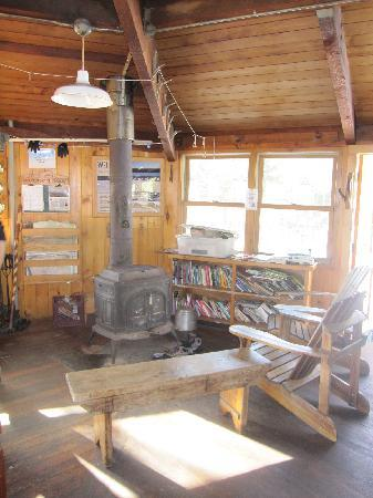 Lonesome Lake Hut: Stove for heat