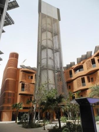 Masdar City: This is a wind tower that cools the entire plaza it sits in, with no electricity, just wind.