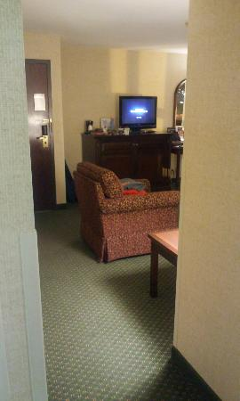 Drury Inn & Suites Greensboro: view into living room from outside our bedroom...again showing how large suite is
