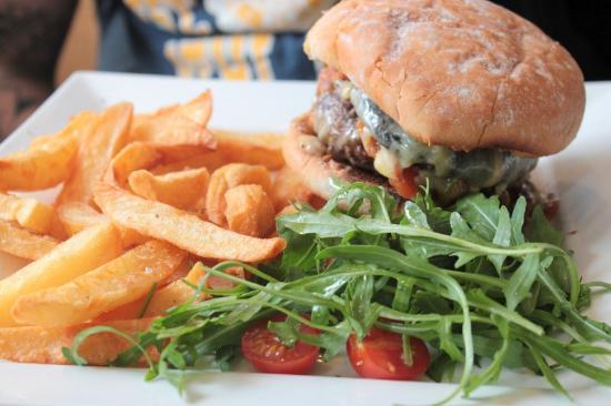 The Angel Inn: burger at the Angel restaurant