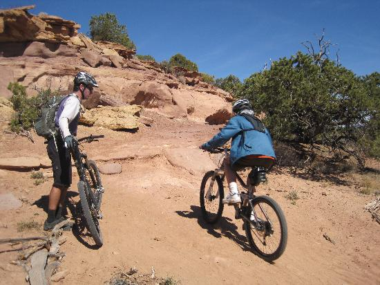 Magpie Cycling: a tough spot on the Intrepid Trail, Dead Horse Point State Park