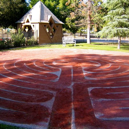 Labyrinth at St. Mark's-in-the-Valley Episcopal Church: Next to the labyrinth is the lychgate, a traditional entrance gate.