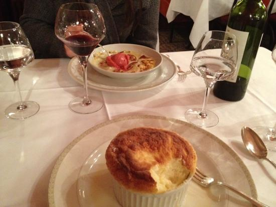 Au Petit Marguery: grand marnier souffle and strawberry gratin