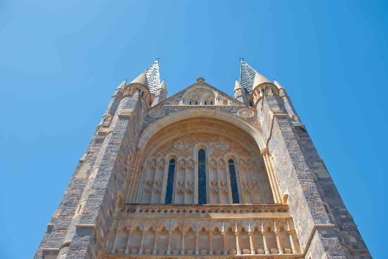 St. John's Anglican Cathedral: Looking up at the St. John's towers