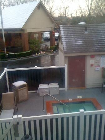 Residence Inn Seattle Northeast/Bothell: view of hot tub from hotel room window