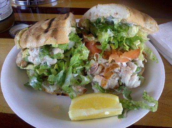 El Pescador Fish Market: Grilled sea bass sandwich
