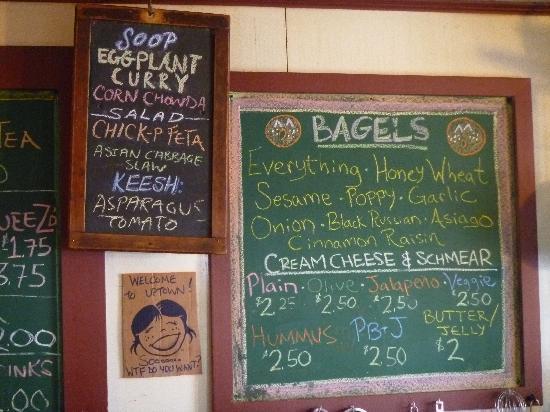 Uptown Espresso Bar: The menu board