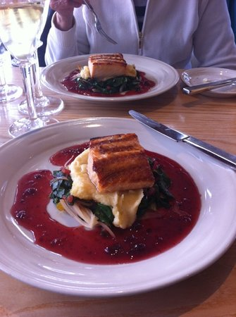 Simon Pearce: Salmon, roasted parsnips and greens with lingonberry sauce. delicious!
