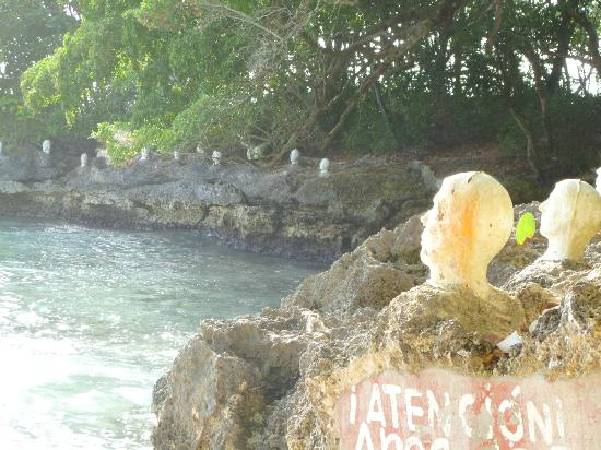 Playa Caleton: The busts on display at the far end of the beach