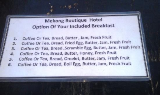 Mekong Central Hotel: Breakfast menu