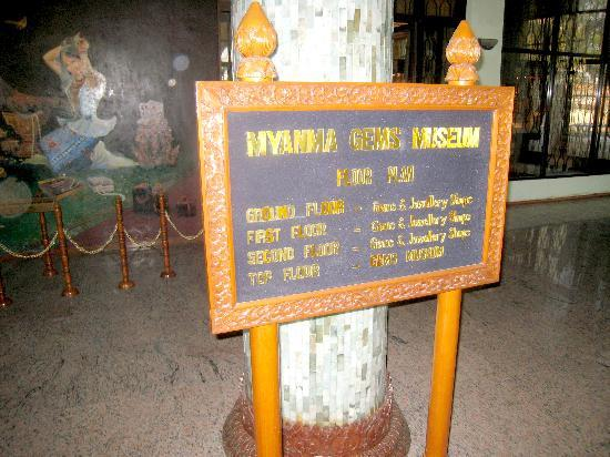 Myanmar Gems Museum : A sign showing what is on each floor of the building