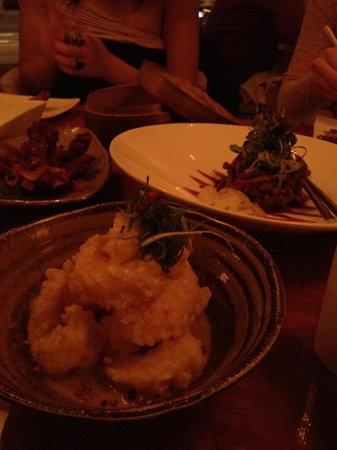 Momo: Tempura prawns & bbq ribs