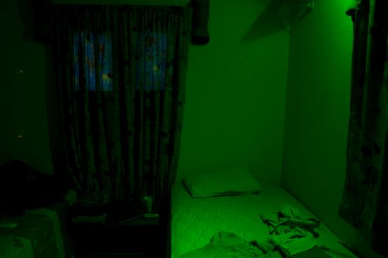 Tete, Mozambique: The glow from the LED of the AC unit