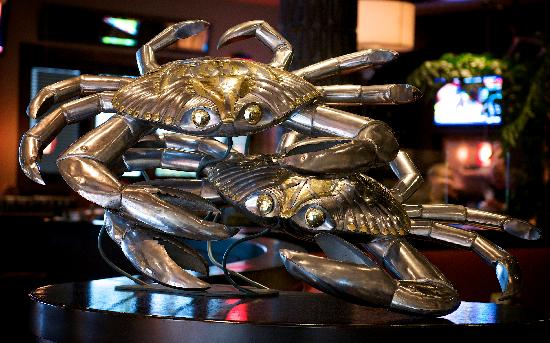 Bluewater Grill: Bustamante Chrome Crab Sculpture