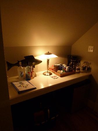 Asbury Park Inn: hall to bedroom w/fridge & coffee/water glasses