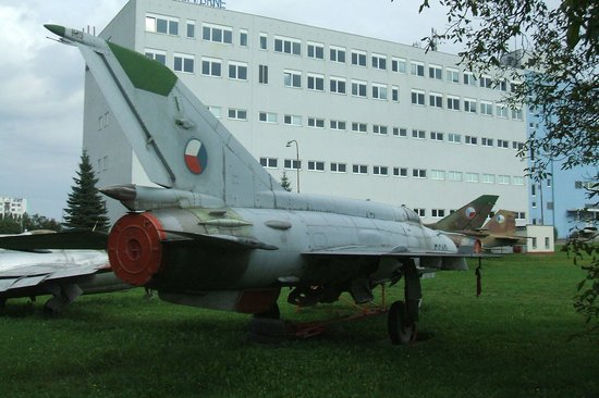 Brno, Czech Republic: Preserved aircraft behind museum