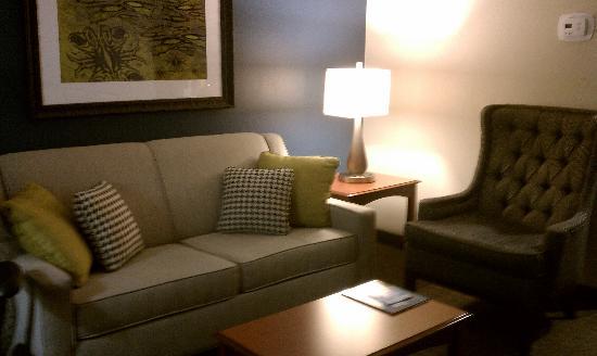 ฮิลตั้นการ์เด้นอินน์เวสท์บูรี่โฮเต็ล: Living room in the suite