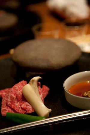 Wakuriya: Sixth course. Kobe beef on heated stone