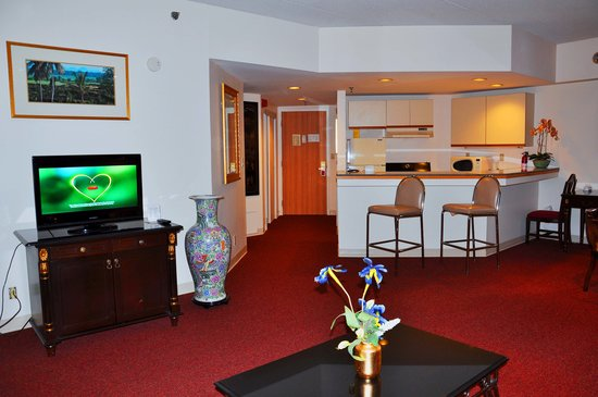 Stamford Suites: Living area and kitchen