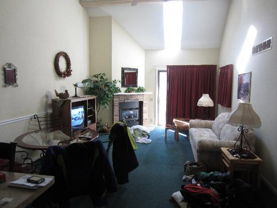 Tamarack & Mirror Lake, a Festiva Resort: nice size living room with faulty fireplace
