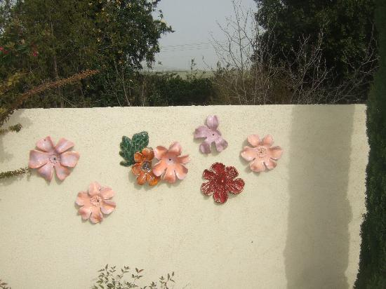 Arbel Guest House Shavit Family : Sara's art by the swimmingpool