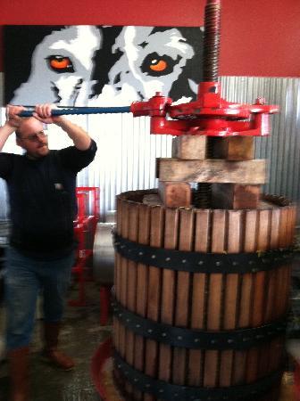 Vino Salida Wine Cellars : Steve pressing 2011 Zinfandel!