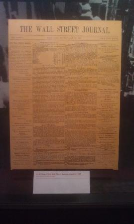 Museum of American Finance: Replica of the 1st edition of WSJ