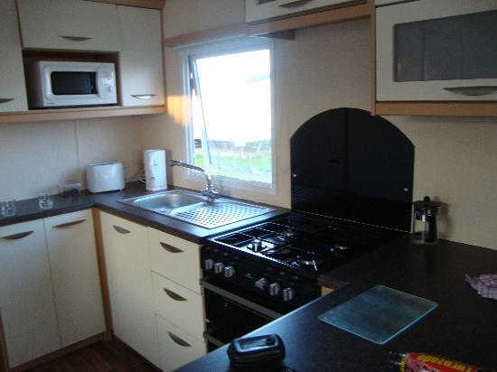 Selsey, UK: silver caravan kitchen