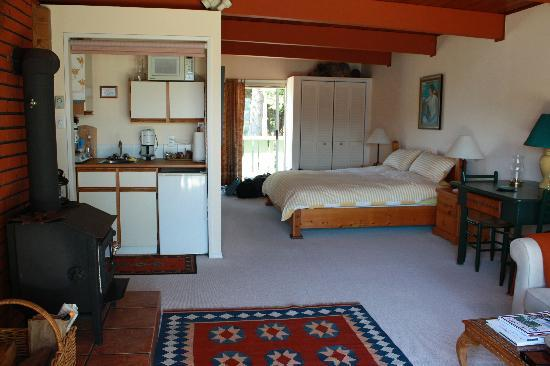 A View With A Room Bed & Breakfast: Inside view of suite with living area, wood burning stove and kitchenette
