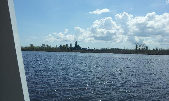 Cape Fear River: View of USS North Carolina while on the Cape Feear River
