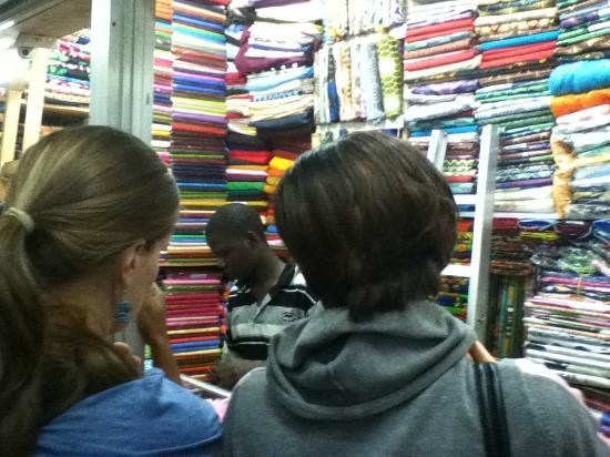Shopping for Kangas and batiks on River Road
