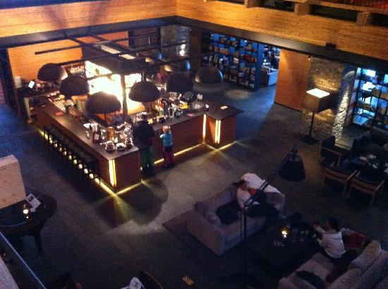Copperhill Mountain Lodge: Bar viewed from above