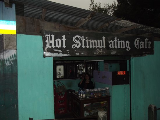 Hot Stimulating Cafe: Look for the sign.
