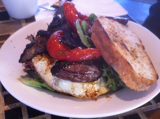 Paramount: Flank steak & eggs, roasted tomatoes onions & greens!