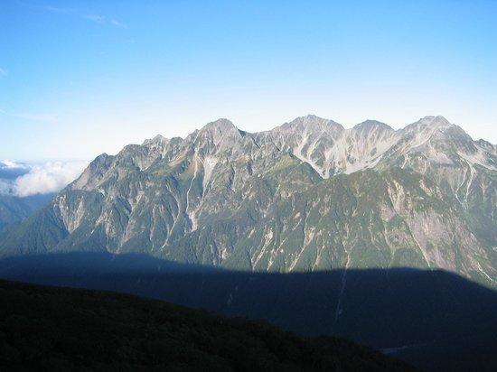 長野県, 蝶ヶ岳山頂からみた穂高