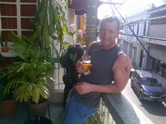 Adam Suites: A guest from South Africa enjoying a beer