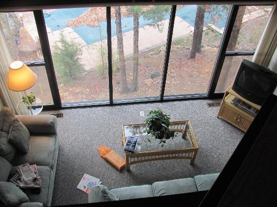 Treetop Village: View from the upper loft bedroom overlooking the living room below
