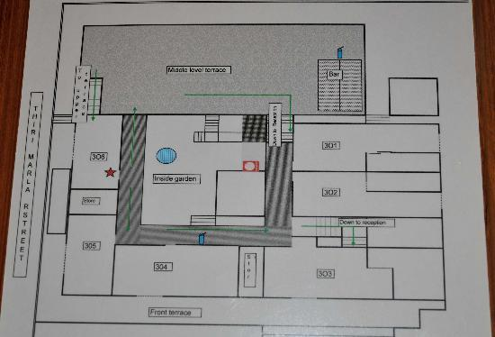 Thurizza Hotel Bagan: Fire escape map shows upper level rooms of varying sizes