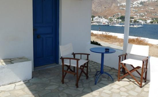 Aeolos Rooms: View of Livadi and Chora from the patio outside a room