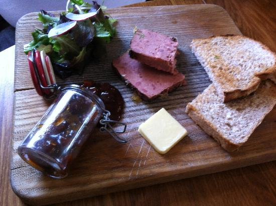 Chicken and pork pate with good old boy chutney, toast and leaves
