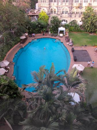 The Taj Mahal Palace: view of pool from bathroom window