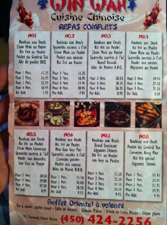 Vaudreuil-Dorion, Canada : take-out menu