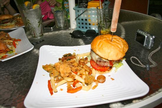 Kitchen Sink Burger - Picture of Sunshine Grill, Seven Mile Beach ...