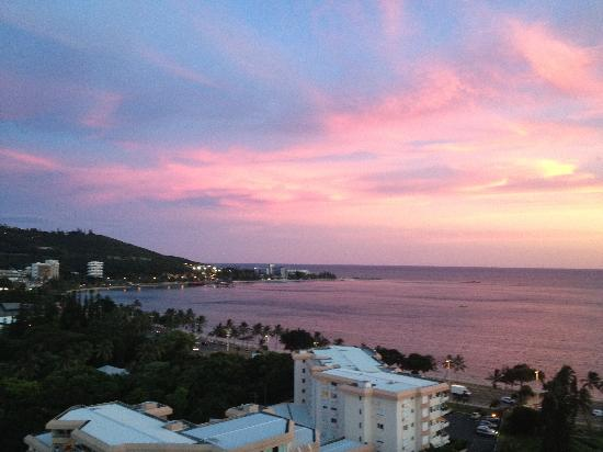 Sun setting on Anse Vata Bay - from Balcony of 16th floor of the Casa del Sole