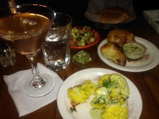 Hummus Kitchen: PomeTini, roasted cauliflower, Bureka, Mediterranean chopped salad