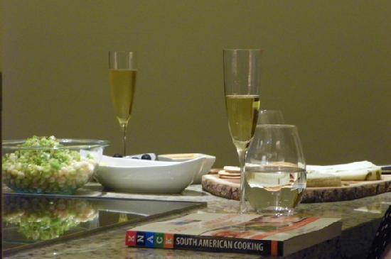 Liz Caskey Culinary & Wine Experiences: appetizers & sparkling wine at Liz's apartment